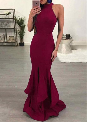 Elegant Burgundy High Collar Neckline Mermaid Evening Dress