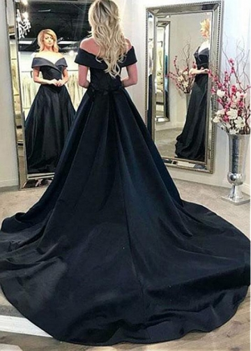 Fascinating Satin Off-the-shoulder Neckline A-line Evening Dress