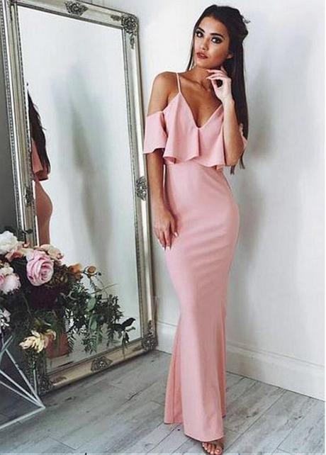 Attractive Pink Spaghetti Straps Neckline Sheath/Column Prom Dress