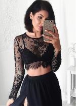 Lace & Chiffon Jewel Neckline Two-piece A-line Evening Dress