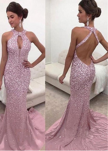 Hot Sale Halter Neckline Backless Mermaid Evening Dress With Beadings