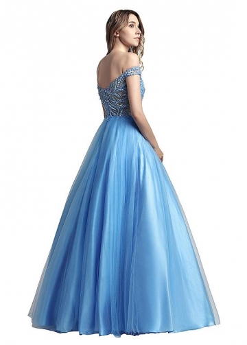 Gorgeous Tulle Off-the-shoulder Neckline A-line Prom Dresses With Beadings & Shawl