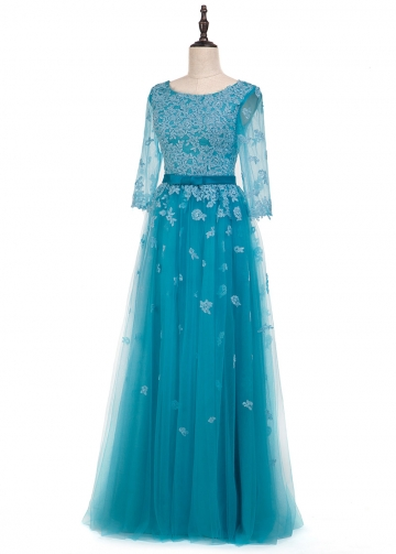 Fantastic Tulle Scoop Neckline A-line Evening Dress With Lace Appliques & Belt