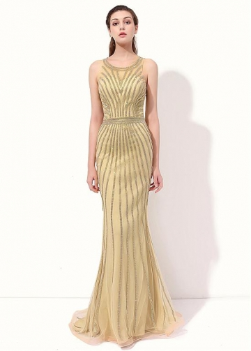 Fantastic Tulle Scoop Neckline Sheath Evening Dresses With Beadings