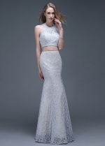 Glamorous Lace Halter Neckline Mermaid Two-piece Evening Dresses