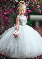 Wonderful Sequin Lace & Tulle Jewel Neckline Ball Gown Flower Girl Dresses