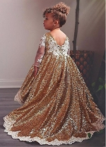 Delicate Sequin Lace Bateau Neckline Floor-length Ball Gown Flower Girl Dresses With Lace Appliques