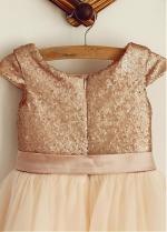 Elegant Sequin Lace & Tulle Scoop Neckline Cap Sleeves A-line Flower Girl Dresses With Belt