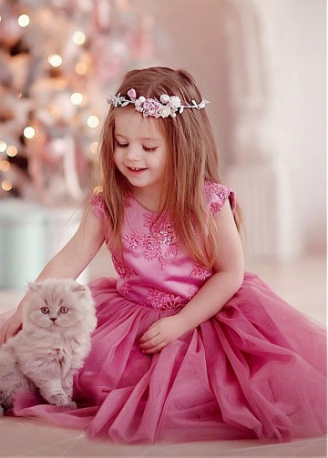 Attractive Tulle & Satin Jewel Neckline Ball Gown Flower Girl Dresses With Sequin Lace Appliques