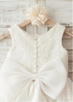 Fabulous Tulle & Satin Scoop Neckline Knee-length A-line Flower Girl Dresses With Bowknot