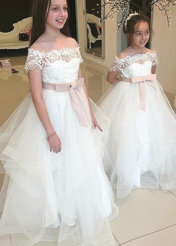 Pretty Tulle Off-the-shoulder Neckline Ball Gown Flower Girl Dresses With Lace Appliques & Belt