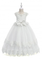 Elegant Tulle & Lace & Satin Jewel Neckline A-line Flower Girl Dresses With Lace Appliques