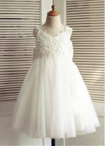 Cute Lace & Tulle & Satin Jewel Neckine A-line Flower Girl Dresses