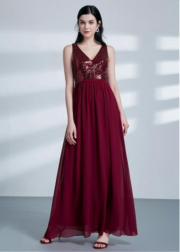 Exquisite Sequin Lace & Chiffon V-neck Neckline A-line Burgundy Bridesmaid Dresses