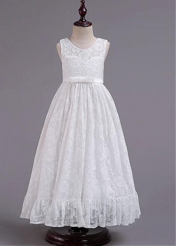 Stunning Lace Jewel Neckline A-line Flower Girl Dresses With Bowknots