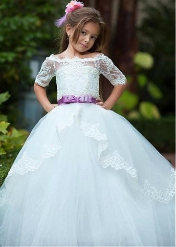 Fabulous Tulle & Lace Off-the-shoulder Neckline A-line Flower Girl Dresses With Beaded Lace Appliques & Belt