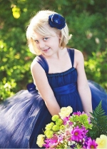 Sweet Tulle Square Neckline Ball Gown Flower Girl Dresses With Elastic Waistband & Handmade Flowers