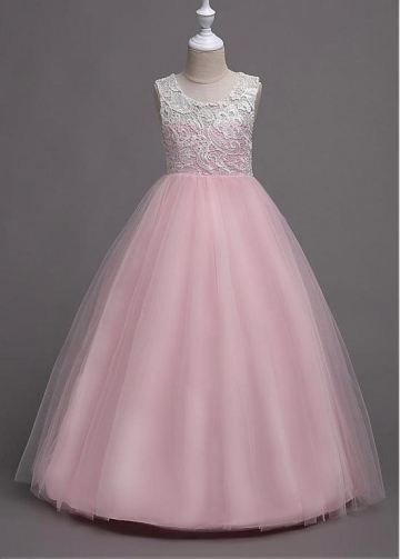 Marvelous Tulle & Lace Jewel Neckline A-line Flower Girl Dress