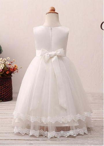 Elegant Tulle Jewel Neckline A-line Flower Girl Dress With Lace Appliques & Belt
