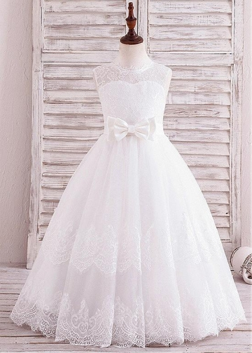 Lovely Tulle Jewel Neckline A-line Flower Girl Dress