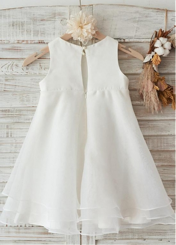 Fabulous Satin & Organza Jewel Neckline Knee-kength A-line Flower Girl Dresses With Bowknot
