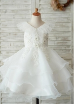 Pure Tulle & Organza V-neck Neckline Knee-length Ball Gown Flower Girl Dresses With Beadings & Lace Appliques