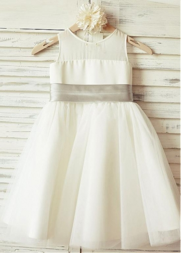 Stunning Tulle & Satin Scoop Neckline A-line Flower Girl Dresses With Bowknot