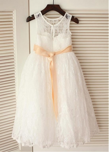 Graceful Lace Jewel Neckline Ankle-length A-line Flower Girl Dresses With Handmade Flowers