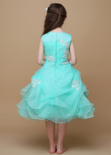 Attractive Organza & Satin Jewel Neckline Ball Gown Flower Girl Dresses With Beaded Lace Appliques