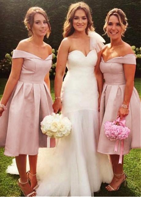 Modest Satin Off-the-shoulder Neckline A-line Bridesmaid Dresses