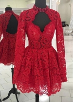 Fantastic Lace High Collar Short A-line Homecoming Dresses With Beadings