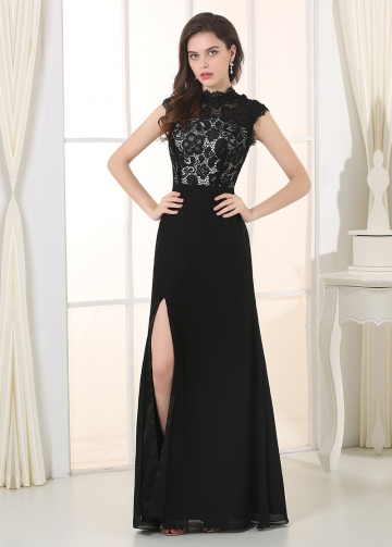 Elegant Lace & Chiffon High Collar Neckline A-Line Military Dresses