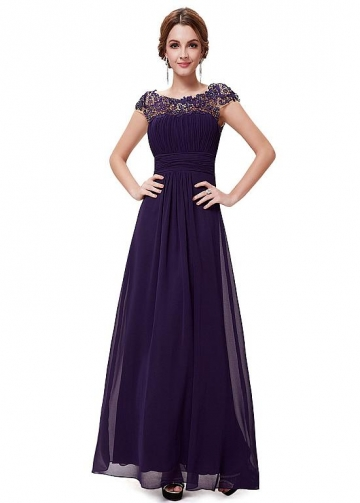 Excellent Chiffon & Lace Bateau Neckline Cap Sleeves Cut-out A-line Prom / Mother Of The Bride Dresses