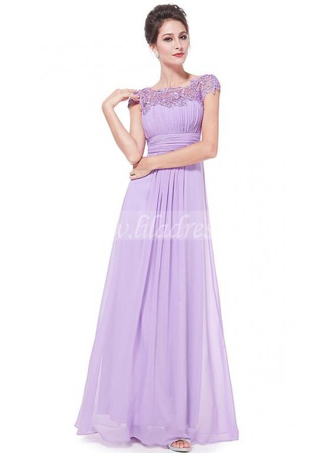 Excellent Chiffon & Lace Bateau Neckline Cap Sleeves Cut-out A-line Prom / Mother Of The Bride Dresses