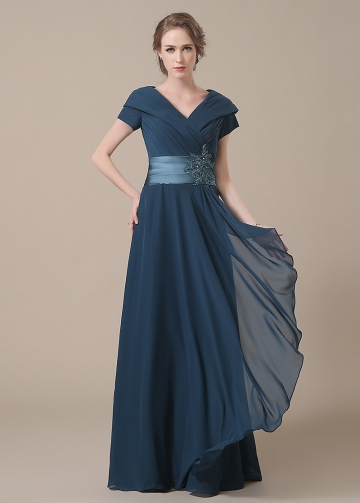 Amazing Chiffon V-neck Neckline Full-length A-line Mother of The Bride Dresses