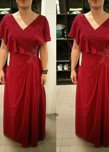 Attractive Chiffon V-neck Neckline Sheath/Column Mother Of The Bride Dresses With Beadings