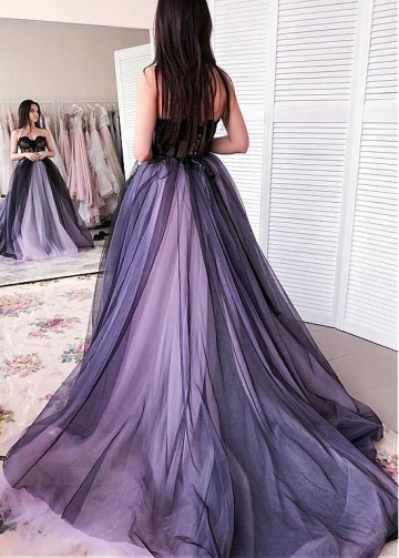 Stunning Tulle Sweetheart Neckline Floor-length Ball Gown Prom Dresses With Beaded Lace Appliques
