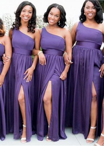 Exquisite Chiffin One Shoulder Necklone A-line Bridesmaid Dress With Belt & Pockets