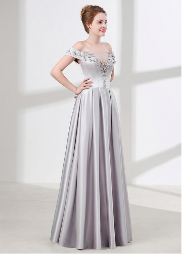 Fashionable Silver Satin Off-the-shoulder Neckline A-line Bridesmaid / Prom Dress