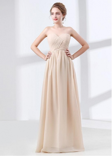 Beautiful Chiffon Sweetheart Neckline A-line Bridesmaid Dress With Pleats