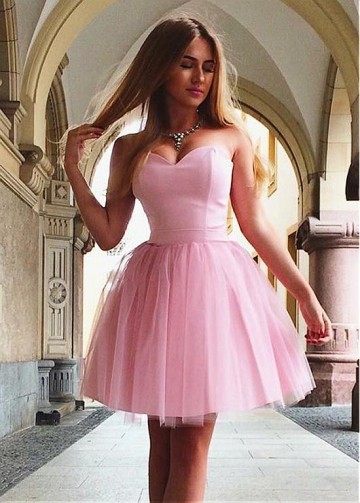 Sweet Satin & Tulle Sweetheart Neckline Short A-line Homecoming Dress