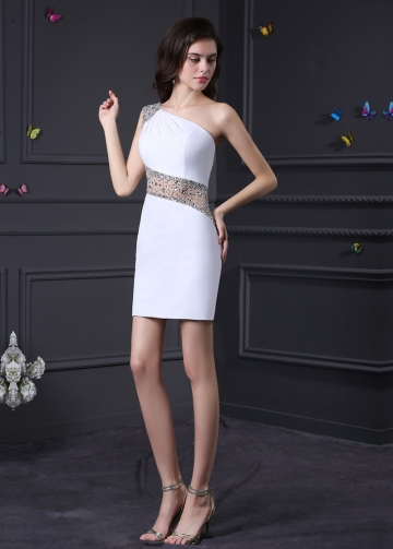 Charming White One Shoulder Neckline Sheath Homecoming Dresses