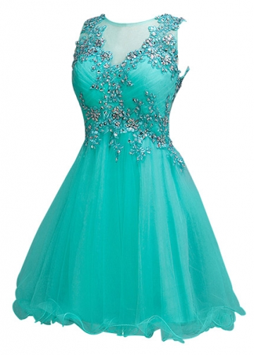 Pretty Tulle Jewel Neckline Short A-line Homecoming Dress With Beaded Lace Appliques