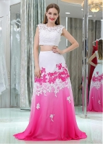 Amazing Tulle & Chiffon Jewel Neckline Floor-length A-line Two-piece Prom Dresses With Beaded Lace Appliques