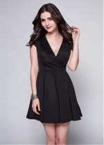 Black Satin V-neck Neckline A-line Cocktail Dress