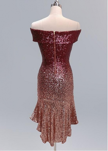 Brilliant Sequins Lace Off-the-shoulder Neckline Hi-lo Sheath/Column Cocktail Dress