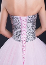 Elegant Tulle & Sequin Lace Sweetheart Neckline Ball Gown Quinceanera Dress With Rhinestones