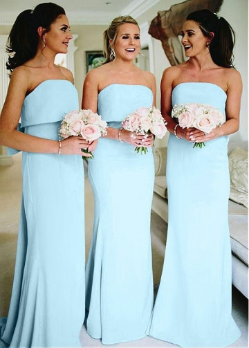 Fabulous Light Blue Off-the-shoudler Neckline Full Length Sheath/Column Bridesmaid Dress With Bowknot