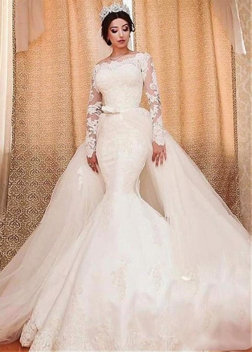 Amazing Tulle Off-the-shoulder Neckline 2 In 1 Wedding Dresses With Lace Appliques & Detachable Skirt