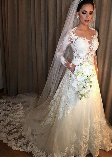 Glamorous Tulle Jewel Neckline A-line Wedding Dress With Lace Appliques & Beadings